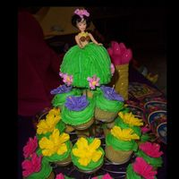Pool Party hibiscus flowers and a hula dancer cupcake