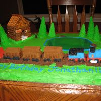 Thomas In 3D This was for my sons 3rd birthday party. I have to give props to my husband for constructing the cabin.