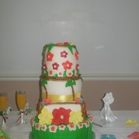 Hawaiin Theme first fondant wedding cake