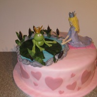 Prince Frog And Princess Engagement Cake First attempt at figures..all made with fondant or gum paste