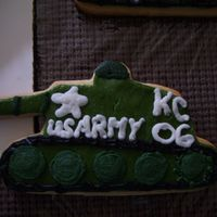 Army Tanks NFSC with rolled buttercream & buttercream accents. Made for grandsons 6th Birthday. These turned out to be huge cookies. I rooled the...