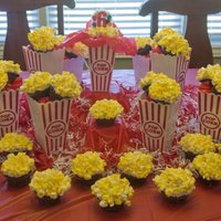 Popcorn Cuppies Chocolate cupcakes & mini marshmallows cut to resemble popcorn for circus themed B-day party for friend of daughter.