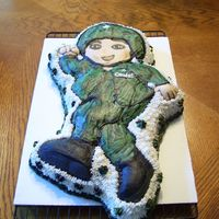 Little Soldier WASC with Vanilla Buttercream, made for Grandsons # 6 Birthday. He wanted an all Army theme Party. Not alot of time to do a carved cake so...
