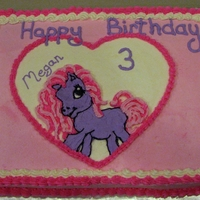 My Little Pony Birthday Cake BC Icing; Heart is FBCT with piped shell border; My Little Pony is FBCT with piped mane & tail. Shell border is piped BC frosting in...