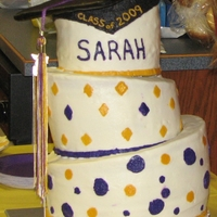 Topsy Turvy Graduation Cake BC Frosting, Graduation Cap top is cardboard wrapped in Fondant with a real tassel. BC frosting is iced below the graduation cap to be the...