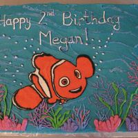 Nemo 2Nd Birthday Cake 11x15 2 layer white cake, strawberry cream cheese filling, BC icing, coral & lettering piped on freehand, Nemo FBCT, hand painted...