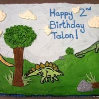 Dinosaur Cake All BC frosting, Dinosaurs are FBCT, painted on additional BC frosting colors once Dinosaurs were on the cake.