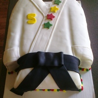 Tae Kwon Do Birthday Cake for my nephew's 5th birthday. Chocolate cake w/ oreo buttercream. I had several tears in th sides, I was rushing quite a bit, but...