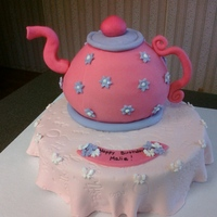 Teapot Birthday Fun cake for 2 year old's tea party birthday. Chocolate cake with strawberry cream cheese filling. Thanks to Susie112562 and...