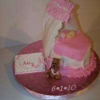 Pink And White Baby Canopy Bed Shower Cake