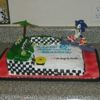 Sonic The Hedgehog Cake This cake looks easy but it took me forever, especially putting all the checkers on. The rings are lifesavers!
