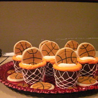Basketball Cupcakes For My Son's End Of Yr Party The basketballs are sugar cookies with royal icing. The cupcakes were the extra large cupcakes. I don't think it would look the same...