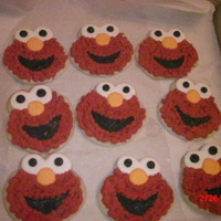 Elmo cookies for treat bags for a birthday party