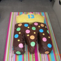 Teen's Birthday Cake This cake was thrown together hince chocolate icing on the letter M. She was happy with it though.