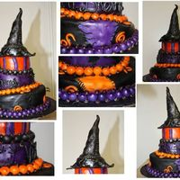 Distressed Witch Hat This cake is a distressed fondant that was airbrushed and hand painted as well as hand stichted. It is designed to accompany the distressed...