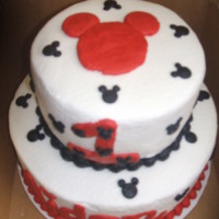 1St Bday Mickey Cake   bottom tier yellow cake -top tier choc. both w/ buttercream icing.