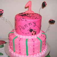 Lady Bug 1St Birthday   2 tier lady bug cake w/ fondant numbers and lady bugs.