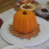 Pumpkin Cake Used aztomcat's Heavenly Pumpkin Spice Cake recipe for this cake. Made for my son's class for their Thanksgiving feast. Leaves...