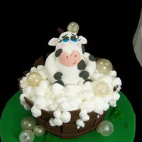 Cow In A Tub  Had to do a western theme demo, but wanted to include my bubbles, so this is what I ended up with. Cow body and tub are cake. Fondant...