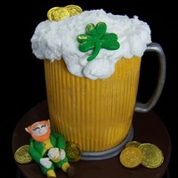 "Beer Mug With Leprechaun  The is a 5"" x 6"" tall cake with a gelatin sheet I made from a textured mat to wrap around to look like a glass. Fondant..."