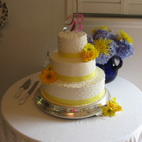 Daisy And Roses Wedding Cake Sour Cream pound cake with buttercream icing