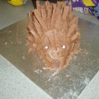 Hedgehog Cake   This is a chocolate cake with chocolate buttercream and broken flake bars as the spikes