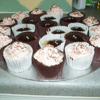 Chocolate Cupcakes   Chocolate and vanilla cupcakes wither buttercream swirls and chocolate ganache