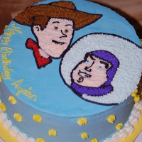 Buzz And Woody Iced in all buttercream. This is the first cake I have done in about a year. I wasn't completely thrilled with my piping, but the...