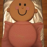 Baby Girl   Cake covered in fondant. Blanket in fondant and detail on blanket in buttercream