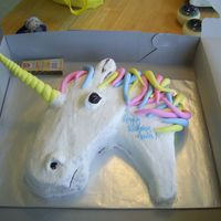 Anna's Unicorn Cake Unicorn's head and neck, made for my daughter's 8th birthday.