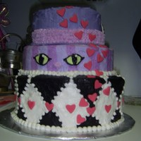 Alice In Wonderland Alice in wonderland cake with the hat as the top layer, cheshire cat as the bottom and red queen checkerboard for the bottom.