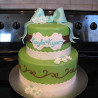 "Sophisticated Baby Shower Cake  A baby shower cake for a friend having twin girls. She specifically stated ""no pink"" so I had the challenge of making blue, green..."