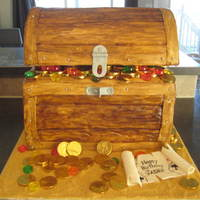 Pirate Treasure Chest  I made this cake for my sons 6th birthday party. It was so fun to make, cake is neopolitan, Chocolate, strawberry, vanilla with vanilla BC...