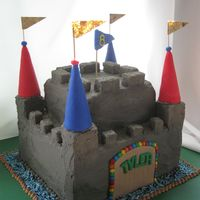 Castle Cake Funzy castle cake for a boy turning 6, buttercream castle with fondant accents