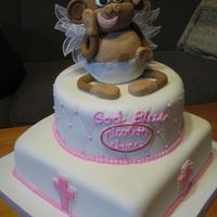 Monkey Angel Cake The mom wanted a monkey angel on her daughter's christening cake, and I was so scared it was going to look like a flying monkey from...