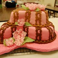 Pink And Brown Paisley This was my final cake for the Wilton fondant and gumpaste class.