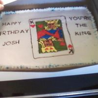 King Of Hearts Unfortunately, this picture turned out very blurry...the best one I could get.. I freehanded the king using BC. Everything is BC. Cake is...