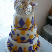 Baby Lakers Birthday Cake. This cake was done for my son, Jalen, who is now three. I used the WASC and the first tier is lemon cake with lemon cream filling and the...