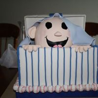 Baseball Baby Shower Cake done for a friends baby shower. I wish the pen stripes were straighter, but it was 2 am and my eyes were crossing! It was my first box...