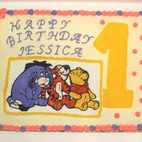 Pooh_Bear_1St_Bday.jpg 1st birthday cake with buttercream icing and my very first attempt at color flow. I was worried the color flow picture would disappear into...