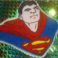 Superman Birthday Cake Fondant and buttercream cake, for my husband, tried to make superman resemble him!