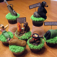 Camping 101 My boss' wife asked me to make some camping/ golfing cupcakes for his 60th birthday. So be it! I made some character cupcakes, a...