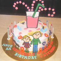 Charlie And Lola Birthday Cake   I made this cake for my daughter's birthday, with fondant and color flow.