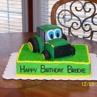 Johnny Tractor This is for my three-year-old's birthday. He loves Johnny Tractor. The tractor is covered in Satin Ice & fondant. The bottom is...