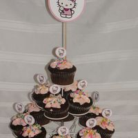 Hello Kitty Cupcake Tree   Chocolate Cupcakes with cream chease buttercream icing colored, with a hello kitty toothpick decoration, Thanks for looking! :)