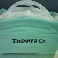 Tiffany Shopping Bag My sister's birthday cake! I wanted to do something different then just the Tiffany box so i tried the handbag....had a little trouble...