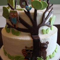 Whooos Invited This is a shower cake I made for my son and his lovely wife. It is base on the Woodsy Forest Friends shower invitation. The tree, bear and...
