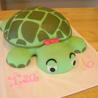 Turtle Birthday Cake   Turtle shaped cake covered in fondant. Various kitchen bowls used for shape.
