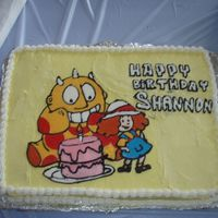 Maggie And The Ferocious Beast Vanilla / chocolate cake made for my dd birthday. My second try at FBCT. Still needs work like my lettering! Was fun to do though :).