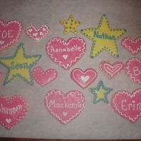 Pre School Favors  Sugar cookies with Antonia 74's RI. Pink icing is raspberry flavor and yellow is lemon. Made for the kids in my daughter's...